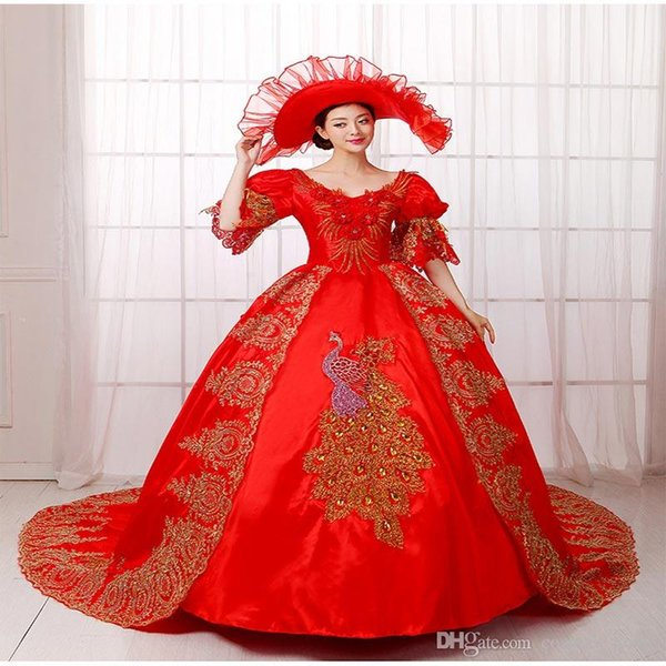 Hot Sale Red Renassiance Medieval Rococo Marie Antoinette Wedding Party Dress Women Histerical Ball Gowns Dance Costumes Vestido