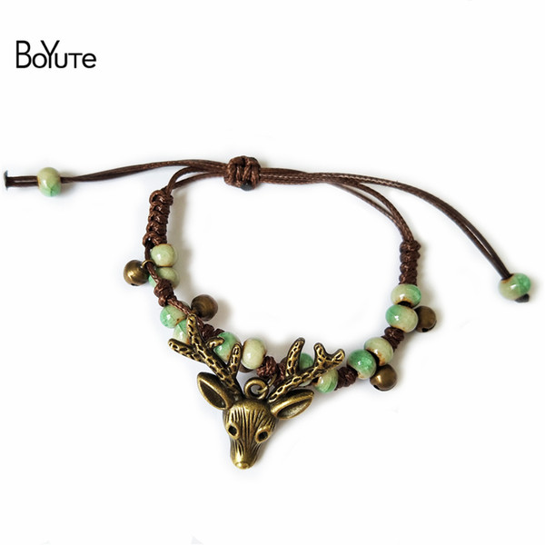 BoYuTe 5 Adet Seramik Boncuk El-örme Bilezik Vintage Stil Antik Bronz Kaplama Geyik Kafası Charm Bilezik Kadınlar Moda Takı