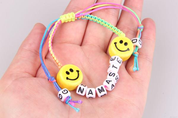 Handmade jewelry charm bracelets for women GD emoji ceramic beads bracelet Korean alphabet activity statement bracelet