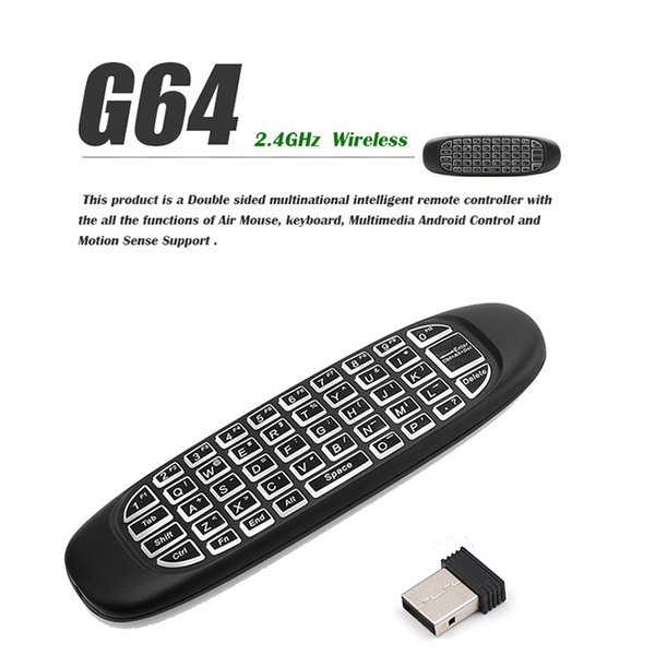 G64 Backlit Fly Air Mouse Mini Wireless Handheld Keyboard 2.4GHz Touchpad Remote Control For M8S MXQ MXIII TV BOX Mini PC 10pcs