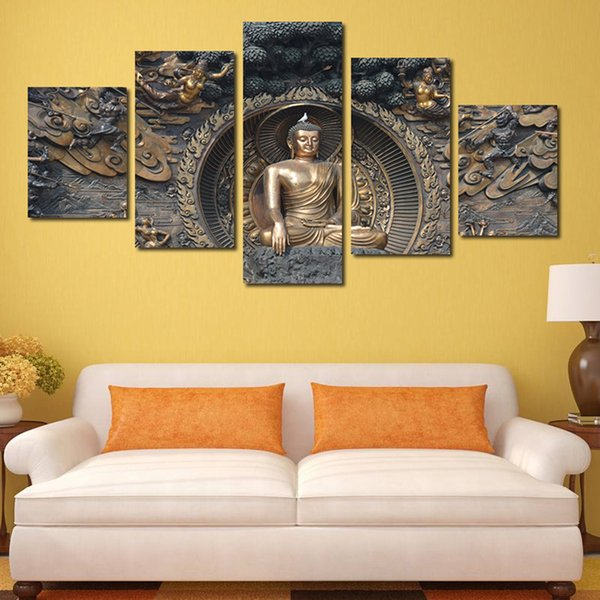 Black and Golden Figure of Buddha Hand-painted Painting Canvas Art ...