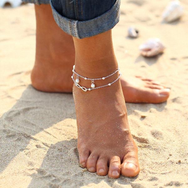 2017 Nueva Caliente 1 UNID Hot Summer Beach Tobillo Infinito Joyas Tobilleras tobilleras para las mujeres
