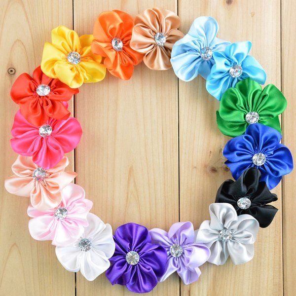 Free Shipping 50pcs/lot DIY Craft Ribbon Five Petals Flowers With Rhinestone Fabric Flowers For Headbands / Hair Bows / Hair Accessory H070