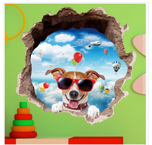 Großhandel Wasserdichte 3D Wandaufkleber Cartoon Gläser Hund Pvc  Schlafzimmer Wohnzimmer Kinderzimmer Home Dekorative Kunst Aufkleber  Wandbild Von ...