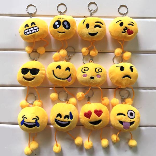 top popular Emoji Keychain emoji Key Ring Yellow Cushion Stuffed Plush Soft Toy Key Chains free shipping in stock 2019