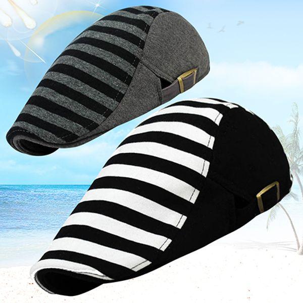 Atacado-Homens das Mulheres Cabbie Jornaleiro Estilo Golf Stripe Cap Peaked Chapéus Boina Chapéus Loja 51