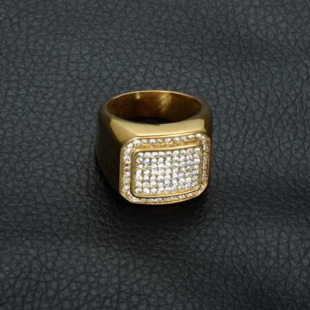 HIP Hop Micro Pave Rhinestone Iced Out Bling Square Ring IP Gold Filled  Titanium Stainless Steel fc716413cf18