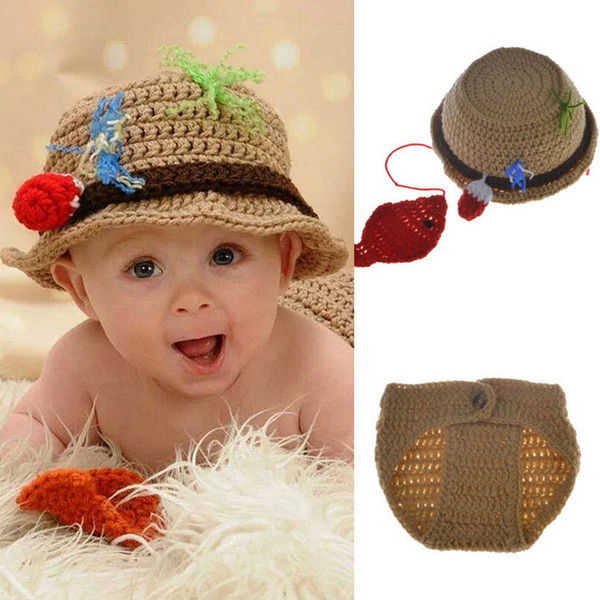 Fisherman Design Infant Baby Unisex Photo Props Soft Crochet Baby Hat and Diaper Set for Fotografia Newborn Coming Home Outfits