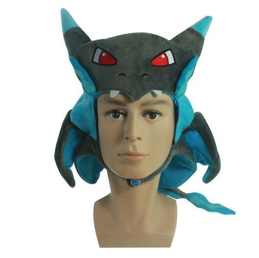 New Charizard Plush Toys Cosplay Pikachu Adult Costume Mega Evolution Hat Blue Cosplay Cap Anime Gift for Christmas