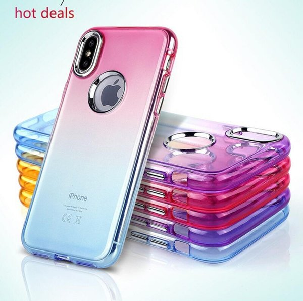 for iphone8 Fashion Rainbow color changing Case Para For iPhone 8 7 Case Cover Soft Silicon TPU Protective