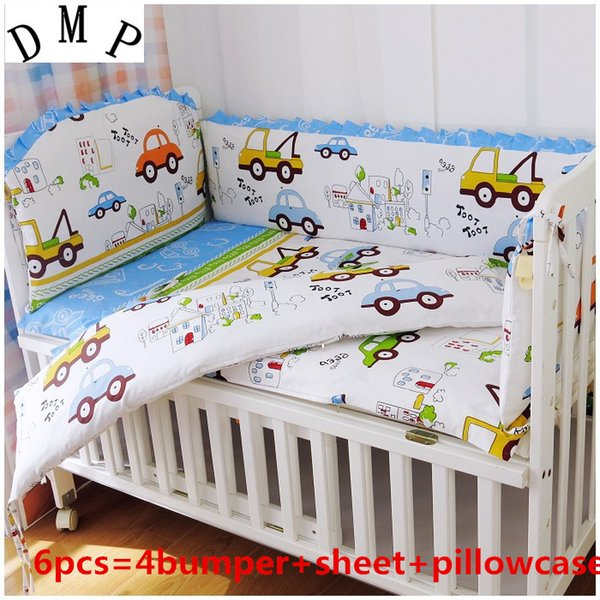 Promotion! 6PCS Crib Bumper Baby Bedding Set for Boys Baby Bedding Kit Boy Crib Set,100% Cotton ,include(4bumpers+sheet+pillowcase)
