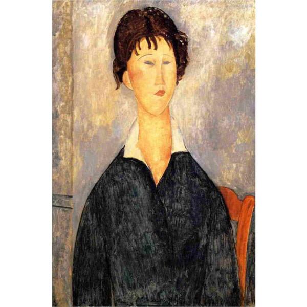 Dipinto ad olio a mano Amedeo Modigliani Ritratto di una donna con un colletto bianco donna arte astratta per arredamento camera da letto