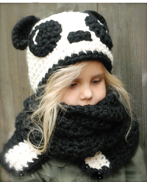2017 Beanies Hats Explosive hat for Kids animal panda cat ear set hat hand-woven warm neck Kids hat