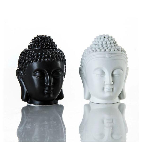 Tay Buda Baş Uçucu Yağ Burner Seramik Aroma Difüzör Buda Mumluk Zen Süs Ev Aromaterapi Siyah Beyaz