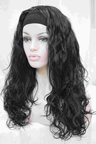 New charming healthy fashion jet black wavy Curly 3/4 wig with headband synthetic women's half wig