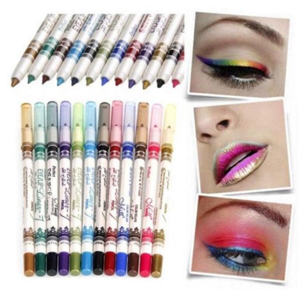 12 colores brillo delineador de labios sombra de ojos delineador de ojos lápiz lápiz maquillaje cosmético conjunto sombra de ojos lápiz kka2092