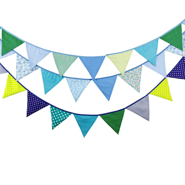 3pcs/lot Cotton Fabric Banners Blue Bunting Decor Wedding Garland Birthday Party Decoration bunting