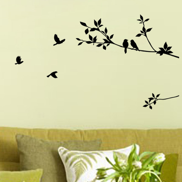 Large Bird and Tree Wall Sticker PVC Self-Adhesive Plant Wall Decal for Living Room Bedroom Home Decor