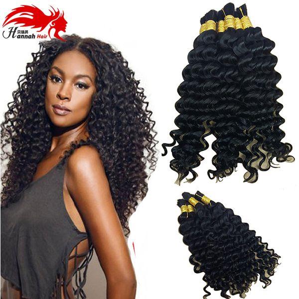 top popular Human Hair For Micro Braids Unprocessed Human Hair Bulk Virgin Brazilian Bulk Hair Extensions Curly Natural Color 2019