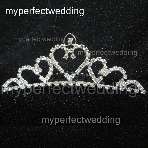 Real Photos Rhinestone Wedding Crown Heart Shape Shiny Tiara Hair Combs Crowns Bridal Hair Accessory Women Free Shipping Factory Best Price