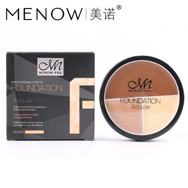 48PCS M.n Menow Double-effect Waterproof Oil Control Foundation Cream Moisturizing four-color face concealer DHL C14001