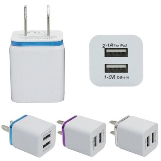 Metal Dual USB wall US plug 2.1A AC Power Adapter Wall Charger Plug 2 port for samsung galaxy note LG tablet ipad DHL free shipping