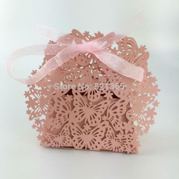 Comercio al por mayor 2000 unids caja de dulces mariposa hueco láser caja de regalo de boda cajas de chocolate cumpleaños favor regalo bolsa de decoración del partido