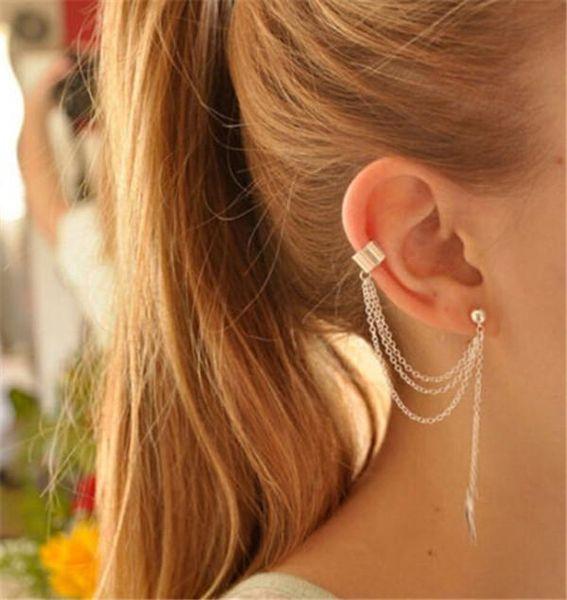best selling Jewelry Clip Earrings High Quality Punk Gold Sliver plated Tassels Chain Leaf Fish Charms Clip Earrings Metallic Ear Wrap Ear Cuff earrings