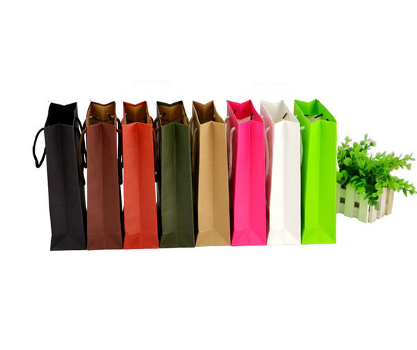 8 Colors wholesale 10 sizes stock and customized paper gift bag kraft paper bag with handles logo available
