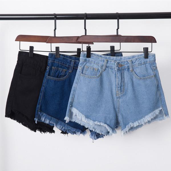 Atacado- 2017 Hot Denim Shorts Mulheres Coréia Burr Shorts Jeans de Cintura Alta Jeans Fino Marca de Verão Estilo Moda Borla Denim Shorts