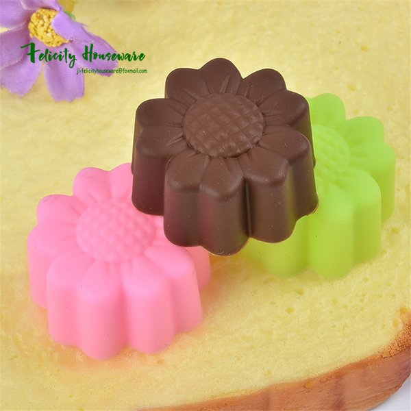 3cm Flower Shape Silicone Muffin Mold Cupcake Bakeware Maker Mold Tray Baking Cup Liner Making Pudding, Jelly, Handmade Soap Tools