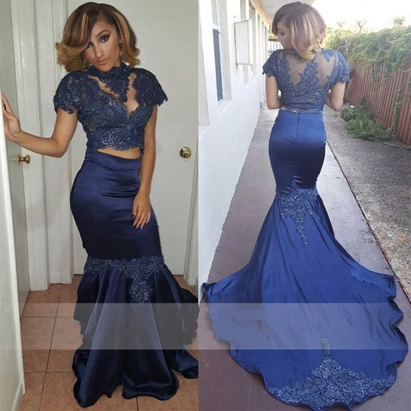 Custom Made Short Sleeve High Neck Sheer See Through Long Two Piece Prom Dresses Lace Satin Navy Blue Mermaid African Evening Dresses