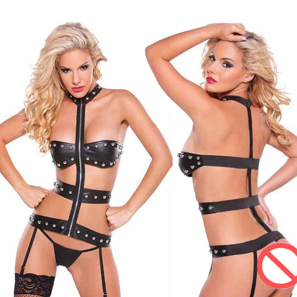 Sexy Black Teddy Zipper Lingerie Faux Leather Fancy Pole Dance Wear Bandage Women Punk Rivet Bodysuit With Garter