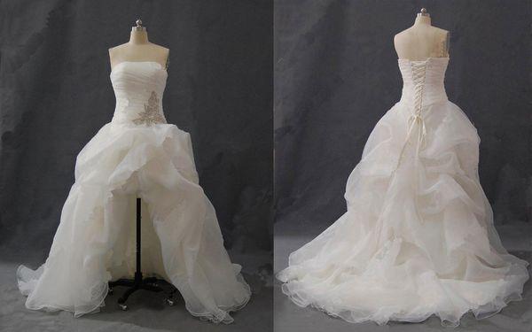 Vestidos De Noiva Importados 2018 Vestidos De Casamento De Praia Frente Curto E Longo Atrás Uma Linha Beaded Bordado Organza Real Hi Lo Verão Vestido