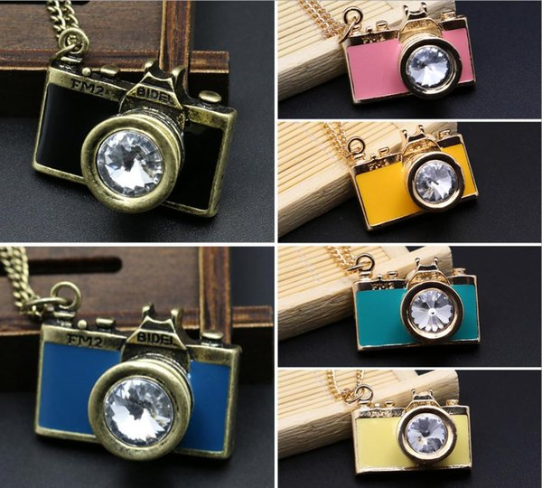 Vintage Style Camera Shape Necklace with Free Jewelry Pouch Camera Silver Chain Fashion Necklace Jewelry Pocket Watch bea049
