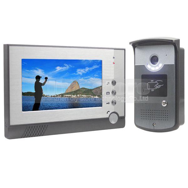DIYSECUR Video Door Phone 7 inch TFT Color LCD Display Visual Intercom Doorbell Card Key Reader RFID LED Night Vision Camera Wholesale