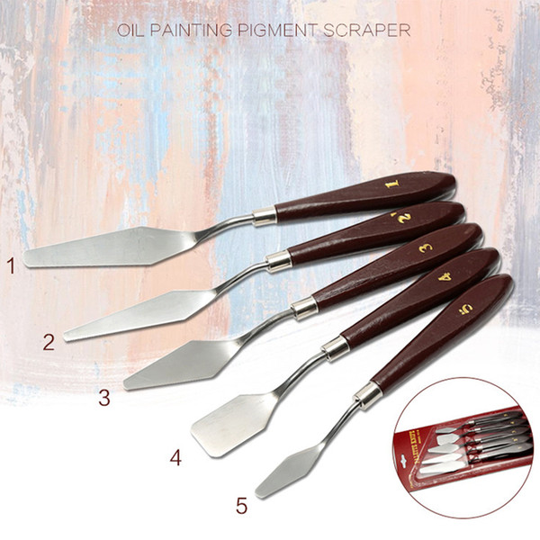 5 pcs/pack Professional Stainless Steel Artist Oil Painting Palette Knife Knives Spatulas Mixing Scraper Art Supplies