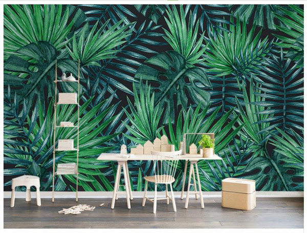 3D photo wallpaper custom size mural non-woven wall Nordic simple tropical plant backdrop mural wall 3D Mural wallpaper Free shipping