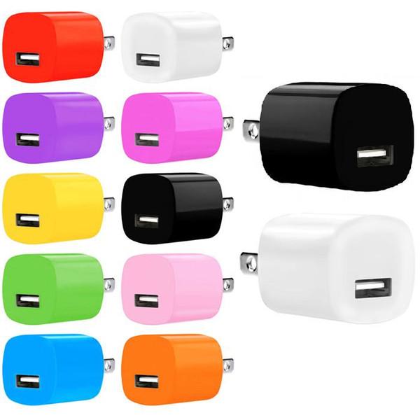 100 adet Renkli 5 V 1A Tek usb 2A + 1A Çift usb portları ABD ab ac ev duvar şarj fişi adaptörü için iphone 6 için 7 htc lg samsung s6 s7 kenar