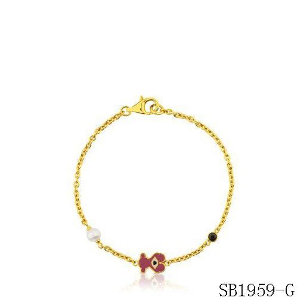 2019 pulsera de acero modelo de la moda brazalete de perlas de colores animales llave de oro amarillo