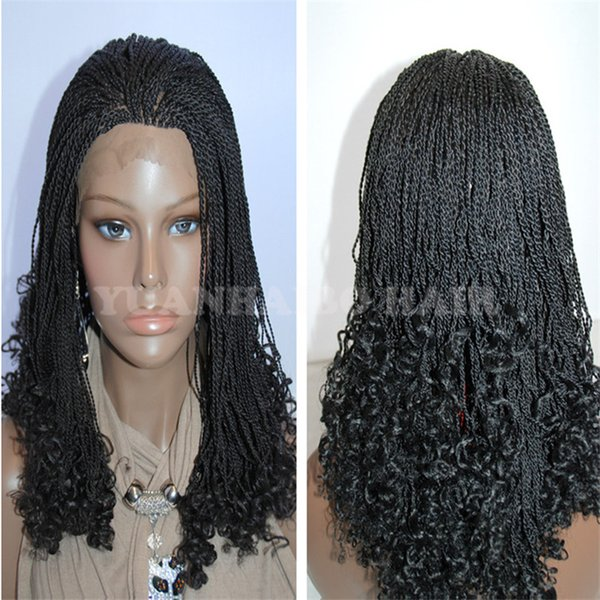 Wholesale Price 10inch black synthetic hair kinky twists lace front short braided wig africa americans free shipping