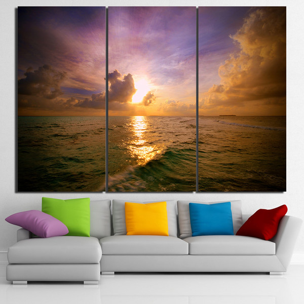 3 Pcs/Set Framed HD Printed Sunset Clouds Sights Wall Art Canvas Pictures For Living Room Bedroom Home Decor Canvas Painting