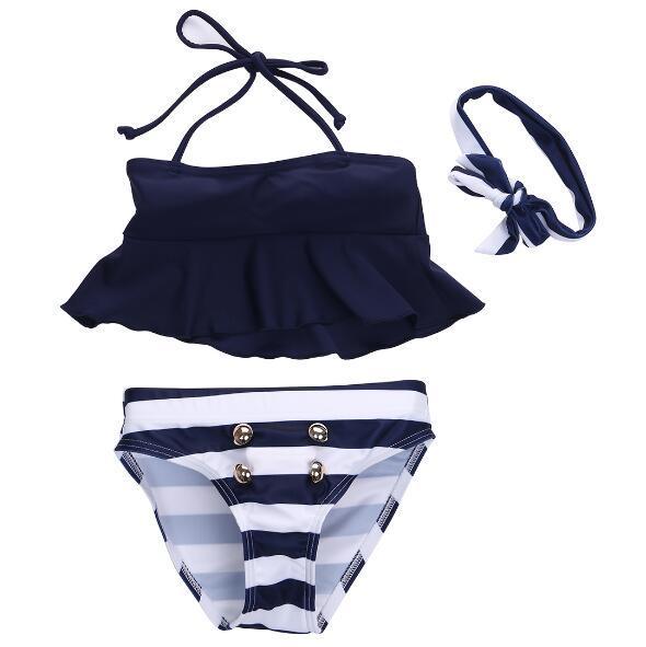 Enfants Bébés Filles Bikini Suit Volants Marine Tops Rayé Tankini Maillot De Bain Maillots De Bain Natation Bow Head Band