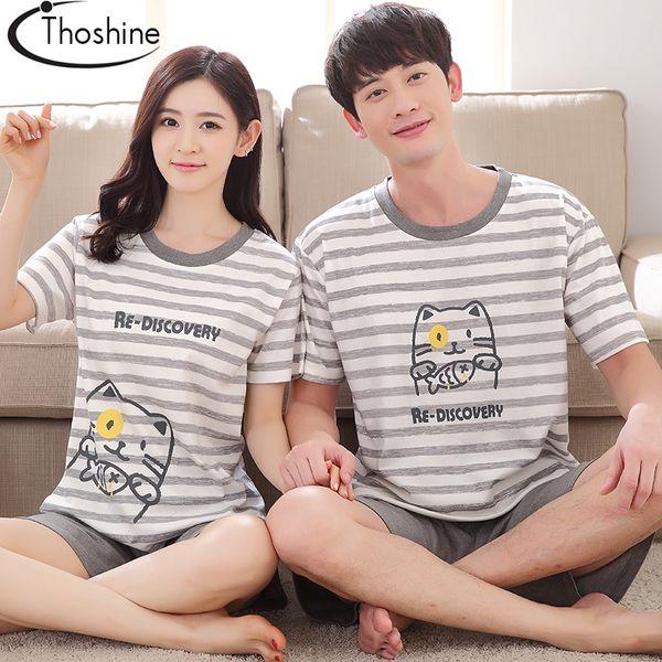 Wholesale- Thoshine 2017 Summer 100% Cotton Couple Pyjamas Sets of T-shirt & Pants Family Sleepwear Women & Men Casual Outwear Clothing