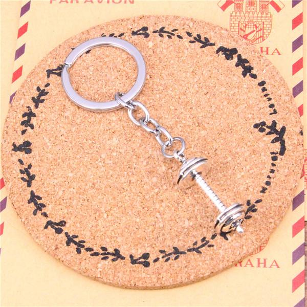 Porte-clés de voiture pendentif couleur argent métal porte-clés accessoire en gros livraison gratuite, équipement vintage haltère trousseau