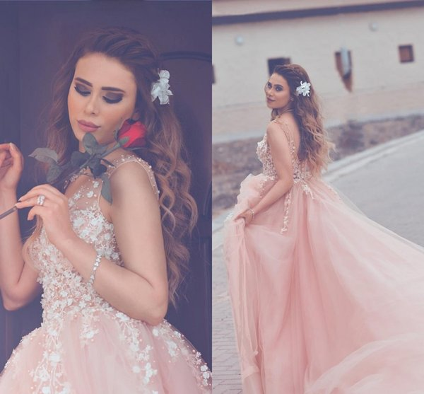 Blush Pink Tulle Ball Gown Prom Dresses V Neck Sheer Straps Pearl Beaded Flowers Backless Prom Dresses Sweep Train