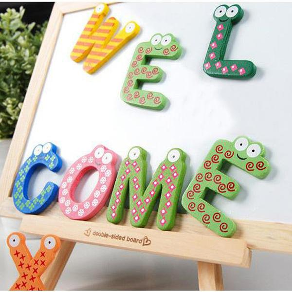 Kids Educational Toy Wooden Letters stickers Alphabet Fridge Magnet Learning Magnets the fridge 26 pcs ABC sticker for children