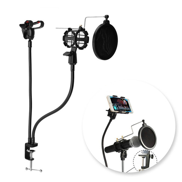 Freeshipping Professional Microphone Stand Mount Phone Holder with Clip for Karaoke MV Android IOS Mobile Phone Universal