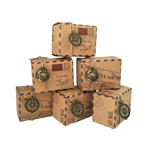 Wholesale-100pcs Favores de la vendimia de Papel Kraft Caja de Dulces de Viaje Tema Avión de Correo Aéreo Caja de Embalaje de Regalo de Recuerdos de La Boda scatole regalo