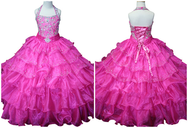2017 Arrived Charming Custom-Made Halter Beaded Lace-up Ball Gowns For Children Girls Pageant Dress Organza Floor Length Kids Dresses